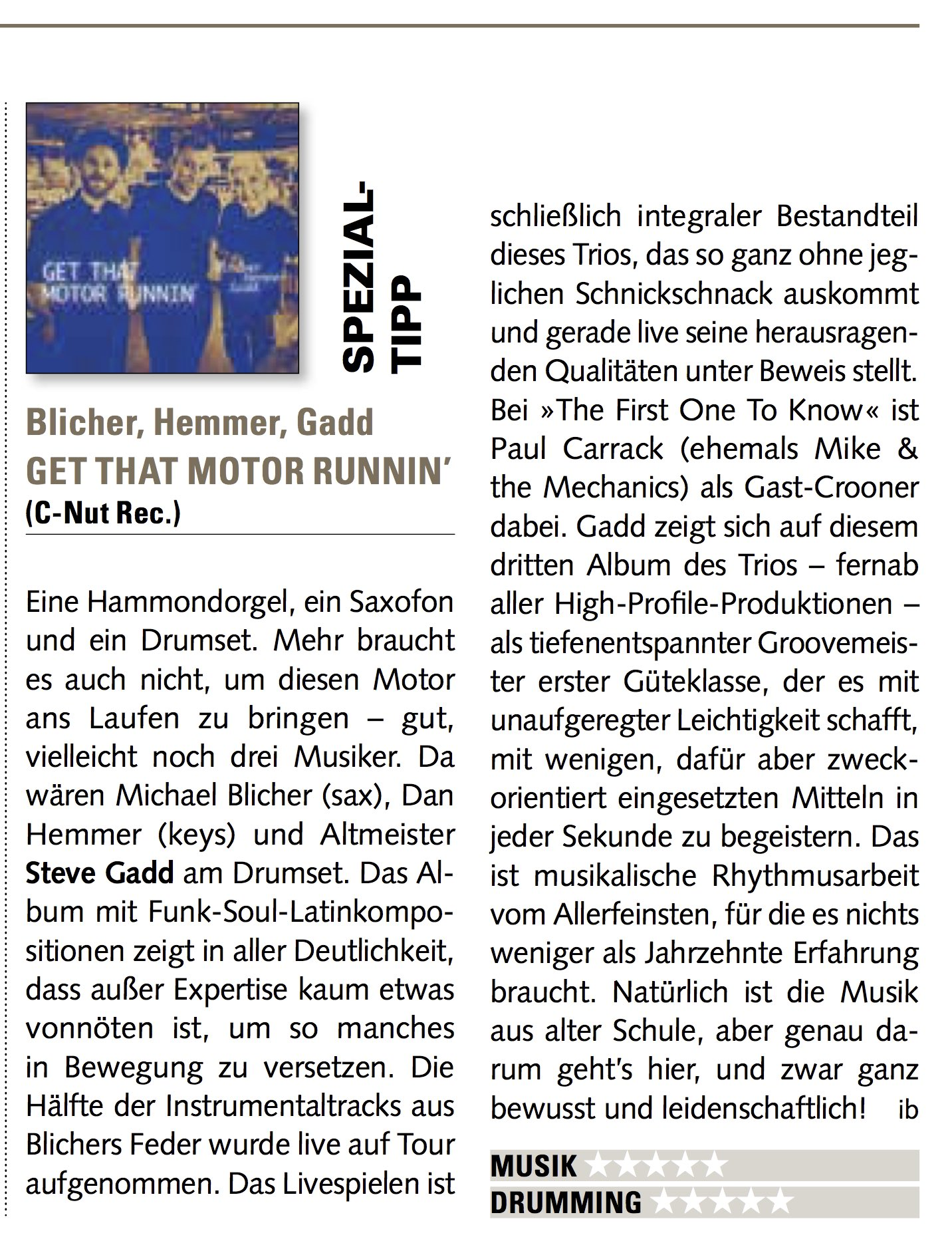 """German review from Drums & Perc. """"Get that Motor Runnin"""""""