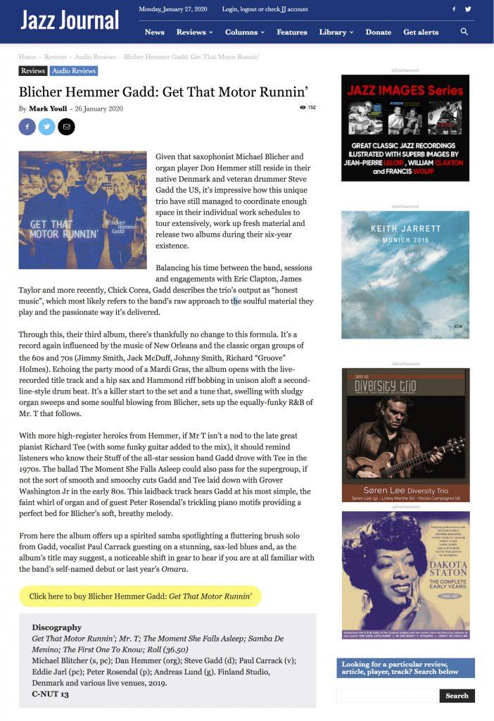 "UK JazzJournal Review 2020 ""Get that Motor Runnin"""