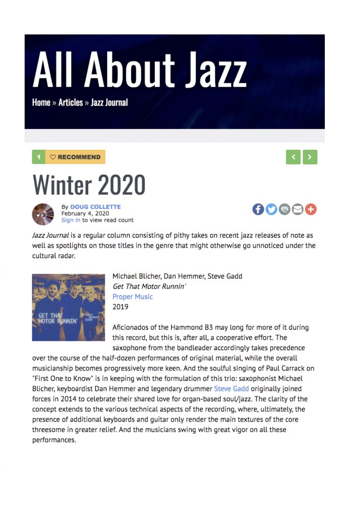 "US AllAboutJazz Review 2020 ""Get that Motor Runnin"""